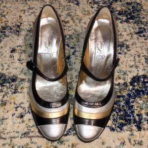 Jeffrey Campbell Black/Silver/Gold Mary Jane Heels